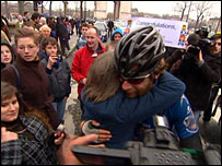 Mark Beaumont at the finish