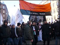 A protest rally by Danish Muslims in Copenhagen on 15 February 2008