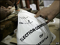 Pakistani election commission officials sealing bags