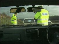 Police stop driver on motorway
