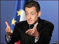 French President Nicolas Sarkozy speaks in Perigueux