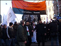 Muslim demonstrators in Copenhagen, Denmark, 15 February 2008