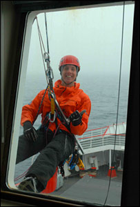 Cleaning windows on the ship (BBC)