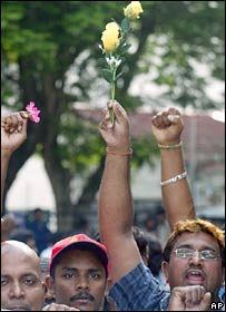 Ethnic Indians at a rally in Kuala Lumpur, 25-02-08