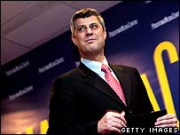 Hashim Thaci at a news conference on Friday