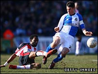 Southampton's Jason Euell challenges Stuart Campbell of Bristol Rovers