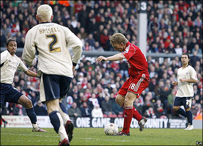 Dirk Kuyt scores for Liverpool