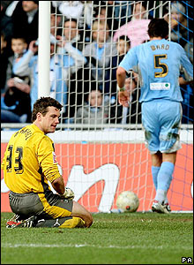 Coventry keeper Andy Marshall shows his disappointment