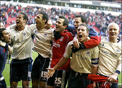 Barnsley's players celebrate the win