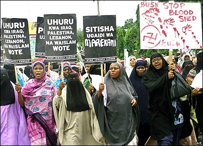 Tanzanian Muslim women protest in Dar es Salaam after Friday prayers (15.02/08)