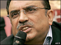 PPP leader and widower of Benazir Bhutto, Asif Ali Zardari (13.02.08)