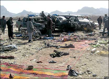 Bystanders at the scene of the Kandahar blast