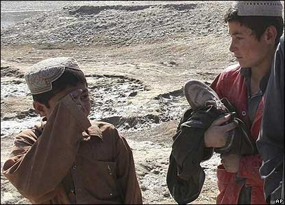 Boys at the scene of the Kandahar blast
