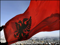 Albanian flag being waved in Kosovo
