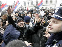 Serb protests against Kosovo independence