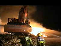 Fire crews tackle the fire on Worthing Beach