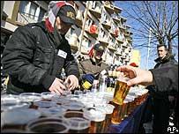 Free drinks near parliament in Pristina
