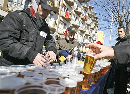 Beer is given out in Pristina, Kosovo