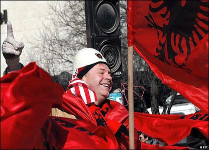 Man celebrates in Pristina