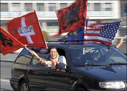 Kosovo Albanians celebrate in Lausanne, Switzerland