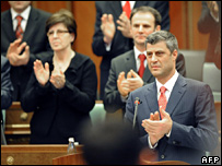 Kosovo Prime Minister Hashim Thaci (right) and MPs applaud during parliament session (17/02/08)