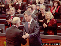 Kosovo Prime Minister Hashim Thaci (centre) shakes hands in parliament (17/02/08)