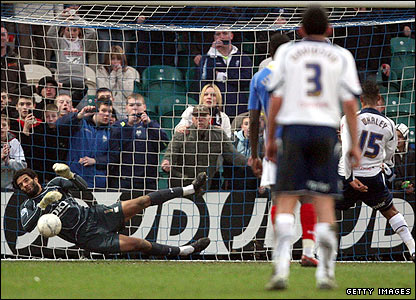 David James manages to save the penalty from Preston's Simon Whaley