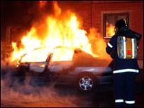 سيارة تحترق في كوبنهاجن