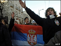 Serbian protest outside the US embassy in Belgrade (17 February 2008)