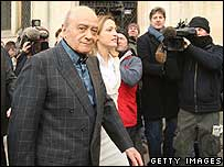Mohamed Al Fayed arriving to give evidence