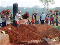 Workers at the excavation site in Orissa (Pic: Sanjib Mukherjee)