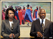 Condoleezza Rice and Kofi Annan in Nairobi (18 February 2008)