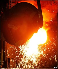 Molten metal being poured in a foreign steelworks
