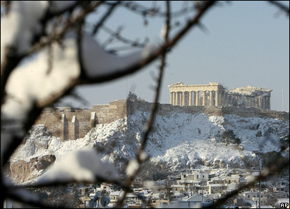 The snow-covered Acropolis in Athens