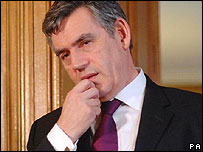 Gordon Brown at his monthly Downing Street press conference.