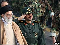 Maj-Gen Jafari (centre) inspecting troops with Supreme Leader Ali Khamenei