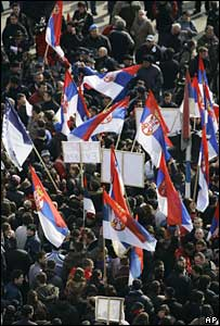 Kosovo Serbs protest against the independence of Kosovo in Mitrovica, 18 February 2008