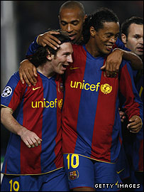 Lionel Messi laps up the praise from Ronaldinho, Henry and Iniesta