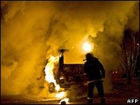 A burning car in Copenhagen. Photo: 15 February 2008