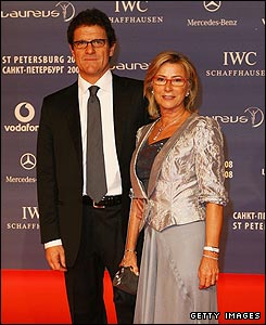 England manager Fabio Capello with wife Laura