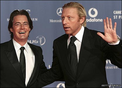 Actor Kyle MacLachlan with tennis legend Boris Becker