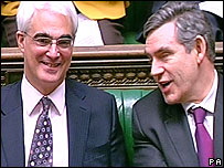Alistair Darling and Gordon Brown in the Commons.