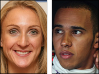 Paula Radcliffe and Lewis Hamilton
