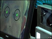 Iris scanner being trialled by the former UK Home Secretary Charles Clarke