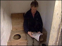 Mary Kellett in the toilet