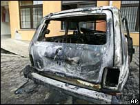 A UN vehicle destroyed by an explosion in Zubin Potok, north of Mitrovica, on Monday