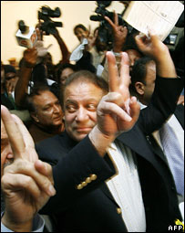 Opposition leader Nawaz Sharif after casting his vote
