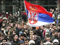 Protest against Kosovo's declaration of independence in Belgrade, Serbia, on Monday