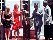 The Spice Girls with Prince Charles and Nelson Mandela