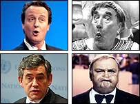 (Clockwise from top left) David Cameron, Frankie Howerd, Les Dawson, Gordon Brown